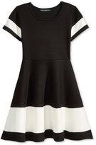 Sequin Hearts Colorblock Dress, Big Girls (7-16)