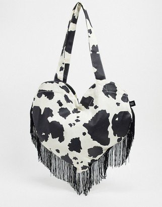 Lazy Oaf have a cow heart fringed tote bag