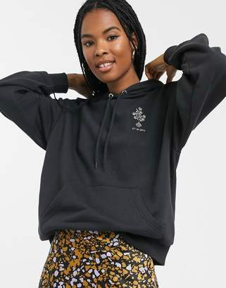 Monki 'Let Me Grow' flower slogan hoodie in black