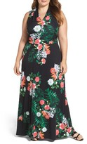 Vince Camuto Plus Size Women's Havana Tropical Halter Style Maxi Dress