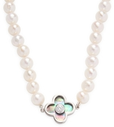 Sterling Silver with Diamond & Mother of Pearl Necklace