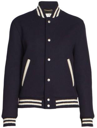 Saint Laurent Teddy Wool-Blend Varsity Jacket