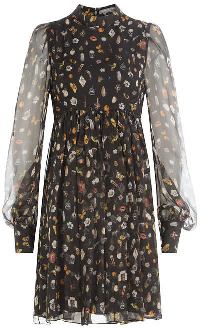 Alexander McQueen Printed Silk Chiffon Dress