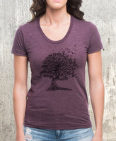 Etsy Tree Dissolving Into Birds - American Apparel Women's Scoop Neck T-Shirt