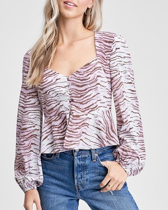 Express En Saison Animal Print Long Sleeve Top