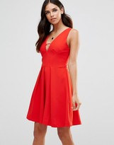Adelyn Rae Deep V Neck Skater Dress