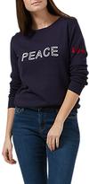 Sugarhill Boutique 'Peace & Love' Chain-Stitch Sweatshirt, Navy
