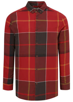 George Red Woven Check Button Down Shirt