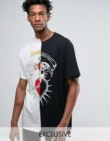 Reclaimed Vintage Inspired X Romeo & Juliet Oversized T-Shirt In Black With Spliced Panels