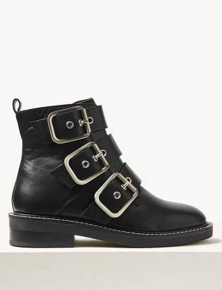 M&S CollectionMarks and Spencer Leather Buckle Detail Ankle Boots
