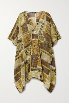 Versace Embellished Printed Silk-georgette Kaftan - Brown