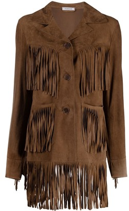 P.A.R.O.S.H. Fringed Suede Button-Up Jacket