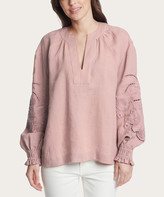 Frye Women's Blouses DEAUVILLE - Mauve Embroidered-Sleeve Puff-Sleeve Notch Neck Top - Women