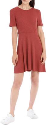 Miss Shop Essentials Short Sleeve Skater Rib Dress Rose