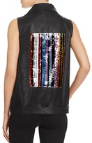 Sunset + Spring Sequin Patch Faux Leather Vest