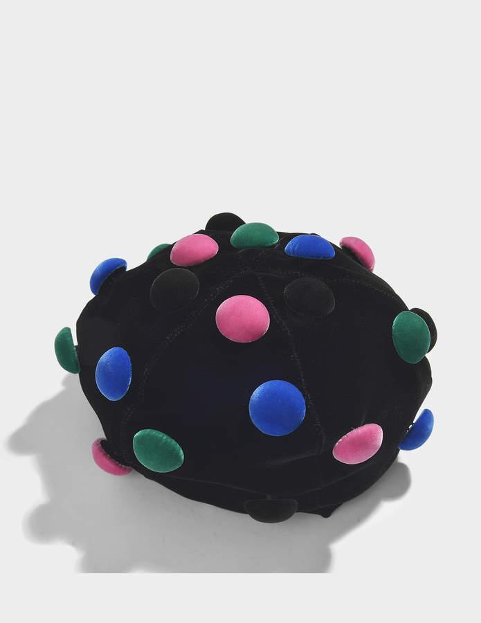 Giorgio Armani Basco Hat in Black and Multicolor Velvet