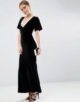 Asos Velvet Flutter Sleeve Fishtail Maxi Dress