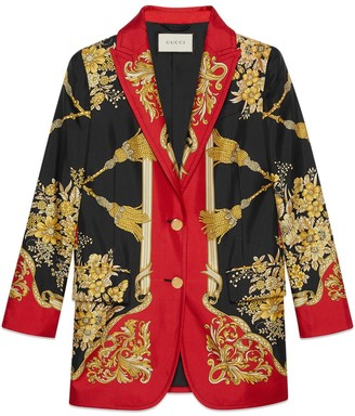 Gucci Silk jacket with flowers and tassels