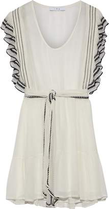 IRO Ottie Ruffle-trimmed Embroidered Georgette Mini Dress