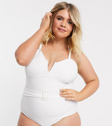 Vero Moda Curve belted strapless swimsuit in white