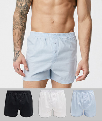ASOS DESIGN 3 pack woven boxer in black white and blue save
