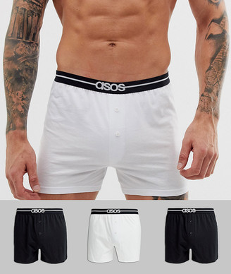 Asos Design DESIGN 3 pack jersey boxers in black and white with branded waistband save
