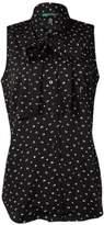 Lauren Ralph Lauren Women's Sleeveless Printed Self-Tie Blouse (4, Black/Pearl)