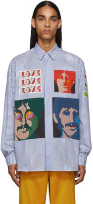 Stella McCartney White and Blue The Beatles Edition Striped No Pocket Shirt