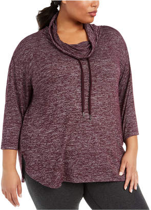 Calvin Klein Plus Size Cowlneck Active Top