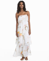 White House Black Market Strapless Floral Tiered Maxi Dress