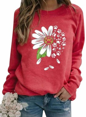 Dresswel Women Daisy Sweatshirt Long Sleeve Tops Pullover Dog Paw Print Shirt Jumpers Blouse Red