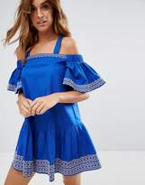 Asos Embroidered Cold Shoulder Mini Dress