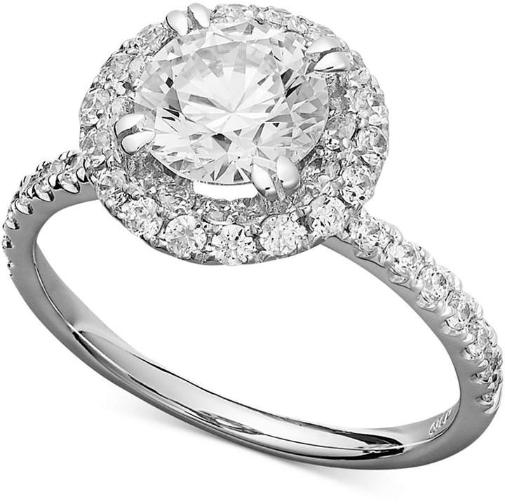 Arabella 14k White Gold Ring, Swarovski Zirconia Round Pave Engagement Ring (3-1/2 ct. t.w.)