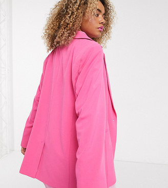 Collusion oversized dad blazer in pink