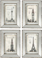 A&B Home Four-Piece Landmark Framed Print Set