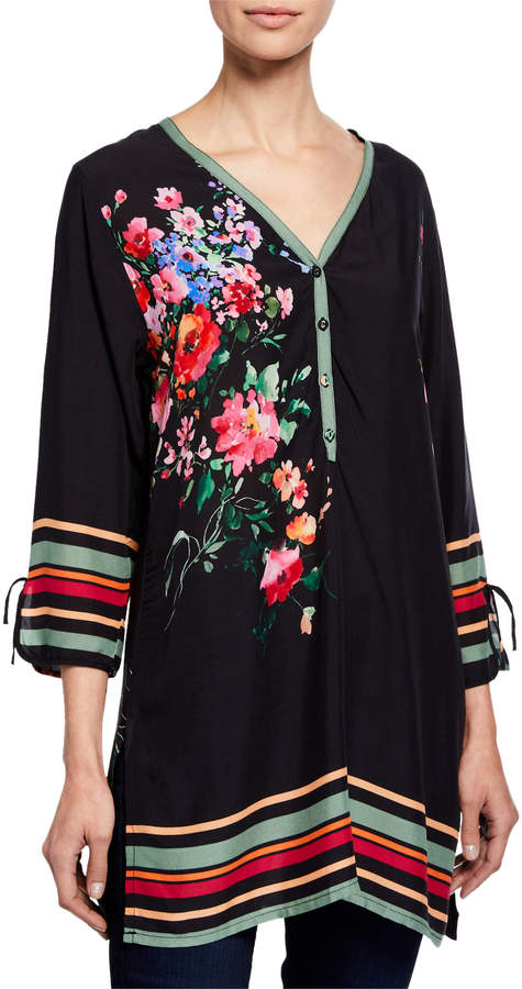 Johnny Was Resort Floral & Stripes Button-Down Tunic Blouse