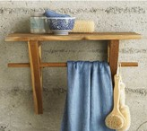 Teak Shelf & Towel Hanger