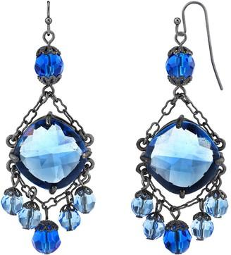 1928 Black-Tone Blue Chandelier Wire Drop Earrings