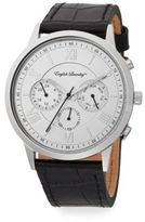 English Laundry Embossed-Leather Strap Chronograph Watch