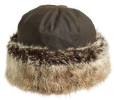 Barbour Women's 'Ambush' Waxed Cotton Hat With Faux Fur Trim - Blue