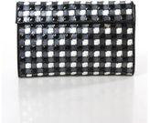 Isaac Mizrahi NEW Black White Plaid Print Clutch Handbag $1450