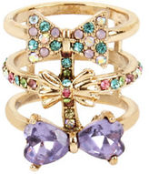 Betsey Johnson Triple Bow-Multi-Row Ring