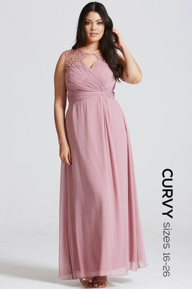Little Mistress Curvy Dusty Pink Embellished Shoulder and Drape Front Maxi Dress