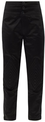 Bolt X Edie - Quilted-knee High-rise Cotton Trousers - Black