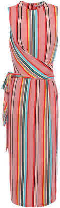 Alice + Olivia Delora Belted Striped Stretch-jersey Midi Dress