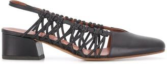 Michel Vivien Cross woven-panel slingback pumps