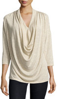 Bobeau Shimmer-Knit Cowl-Front Top, Gold