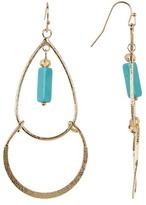 Cara Accessories Rectangle Turquoise Charm Dangle Earrings