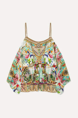 Camilla Off-the-shoulder Embellished Silk Crepe De Chine Playsuit - Mint