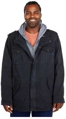 Levi's Big Tall Cotton Military Trucker Jacket with Sherpa Lining - Tall (Navy) Men's Clothing